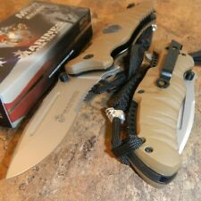 Mtech M-A1020TN Tan US Marines USMC Serrated Stainless Folding Pocket Knife