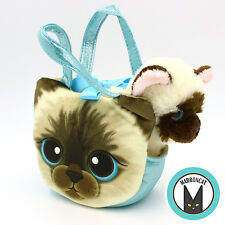 Aurora World Fancy Pals Blue Kitten Siamese Pet Carrier Girls Plush Cat Handbag