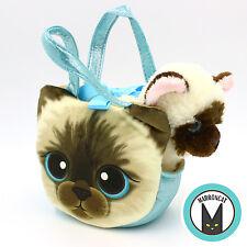 Aurora World Fancy Pals Blue Kitten Siamese Pet Carrier Girls Plush Cat Handbag