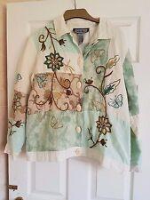 "Indigo Moon Jacket Size M - Mint Patchwork wth Butterflies STUNNING - 42"" Bust"