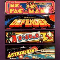 4 MINI Arcade Marquee Waterproof Stickers Ms. Pac-Man Dig Dug Asteroids Defender