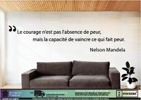 Citation Nelson Mandela «courage» mural autocollant adhésif vinyle graphique