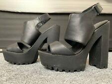 All Black, Dominatrix/Gothic High, Platform Heels, Size 4