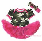 Camouflage Bodysuit One Piece Hot Pink Pettiskirt Baby Dress & Shoes Set NB-18M