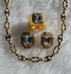 Gold Tone Necklace With Ring & Clip On Earrings With Large Faceted Glass Stones