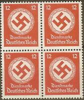 Stamp Germany Official Mi D172b Sc O86a Block 1942 WWII Fascism War Dienst MNH