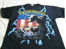 USA Thunder Black Large T-Shirt Western Heritage Lightning Vtg '90's Cotton