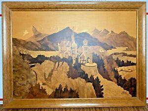 """Buchschmid & Gretaux Neuschwanstein Castle German Wood Inlay Marquetry 20"""" x 15"""""""