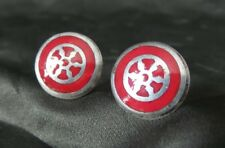 Great Vintage 900 Silver Designer Cuff Links /w Viking/Nordic Rune & Red Enamel