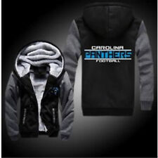 Carolina Panthers Football Hoodie Zip up Jacket Coat Winter Warm Black and Gray