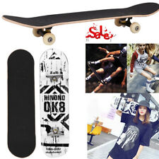 Ok8 White Skateboard Top Stained Black 31.5in Skateboards, Ready To Ride New