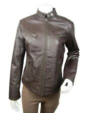 Ladies Brown Napa Leather Slim Tight Fitted Short Biker Jacket Bike