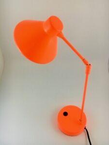 Habitat Retro Designer BRIGHT ORANGE 'Bobby' adjustable Desk lamp: RARE