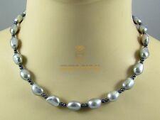 Graue Süßwasser-Perlenkette in Barockform 45 cm Gemini Gemstones
