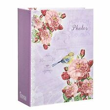 ARPAN 6x4'' Small Purple Vintage Bird Slip in Case Photo Album for 100 Photos
