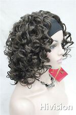 Deep brown short Wave Women's Daily 3/4half wig with headband G054