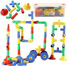 Smart Builder Toys Tube Locks Set 64 Pcs with Wheels, Music Parts & Container