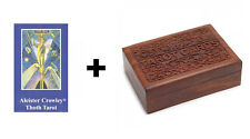 Aleister Crowley Thoth Tarot Card Deck & Booklet in a Carved Wooden Tarot Box
