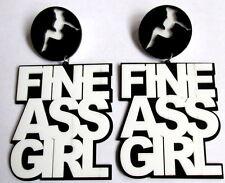 Pesado Extra Largo Blanco Negro Hip Hop pendientes de enlace de corte láser -- Fine Trasero Chica.