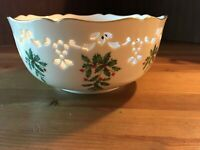 "LENOX HOLIDAY 8"" ROUND PIERCED BOWL GOLD TRIM MADE IN USA"