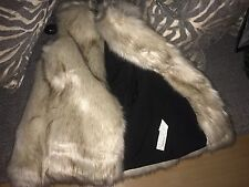 ZARA Beige Long Faux Fox Fur Winter Waistcoat Gilet Coat M 12