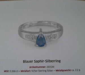 Blauer Saphir-Silberring von Juwelo 2692 AI Größe 17 plus weisser Tpoas