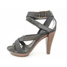 Lanvin Ete 2011 Black Strappy Leather Open Toe Heeled Sandals Women's 6 / 37