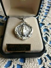 """CREED NEW """"MIRACULOUS MEDAL"""" STERLING SLVR Medal 24"""" Stainless Stel Chain SS2160"""