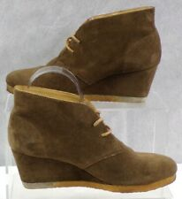 Clarks Originals Womens Brown Leather Suede Wedge Heel Casual Ankle Boots Size 5