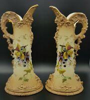 A  Pair Of Art Nouveau Ernst Wahliss Turn Wien Porcelain Vases. Austria C1900.