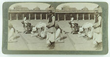 Underwood & Underwood Stereoview of Men Praying in Mosque, Ahmedabad, India 1903
