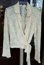 Spiegel Size 12 Ivory Semi-sheer Lace Side Wrap Tie Bow Blouse Vintage