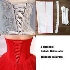 30cm Satin Corset Kit Zipper Replacement Gown Wedding Dress Back Lace Up #