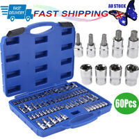 "60Pcs Star Socket Set Torx Torq Torque Bits 1/4"" 3/8"" 1/2"" Drive Heavy Duty"