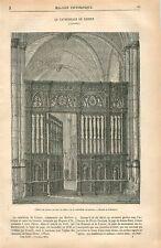 Clôture du Choeur Cathédrale Saint-Pierre de Lisieux Calvados GRAVURE OLD 1875