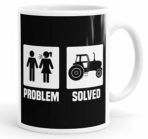 Tractor Farming Farmer Problem Solved Funny Coffee Mug Tea Cup