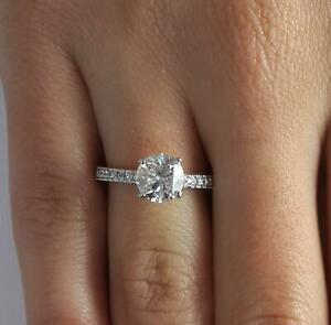 1.05 Ct Pave 4 Prong Round Cut Diamond Engagement Ring VS1 D White Gold 18k