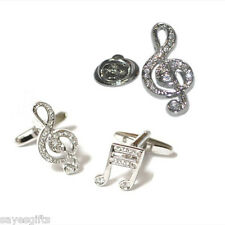High Quality Rhodium Crystal Encrusted Treble Clef Lapel Pin Badge & Cufflinks