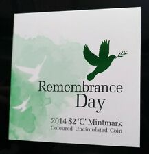 """2014 """"C"""" mint marked carded $2 Remembrance day Green Dove coin by RAM"""