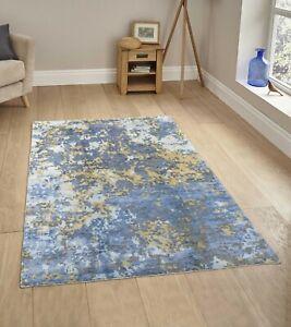 6x9 Rug Abstract Rug,Blue Rug Handmade Wool Rug......#7647 (180x275 Cms.)