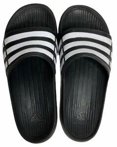 Adidas Kids Size 6 Flip Flops Black with White Stripes
