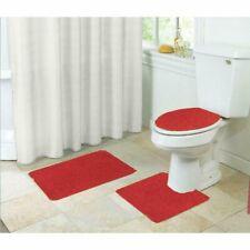 Layla Shaggy Style 3 Piece Bathroom Set Bath Mat Contour Seat Cover