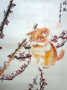 """original chinese famous handpainted""""17x21"""" Watercolor painting""""lovely cat"""""""