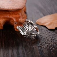 Fashion Silver Color Feather Rings for Women  Adjustable Antique Opening Rings