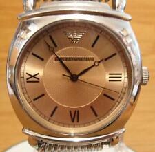 Mens XL Emporio Armani AR0264 Champagne Art-Deco Style Classic Analog Watch