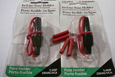2 x 6.35 x 32mm inline fuse holder 250 V 5Amp + 4 connecteurs Raccord Rouge