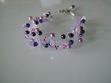 Bracelet Violet/Parme/ Mauve/Cristal p robe de Mariée/Mariage/Soirée, perles