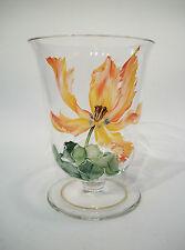 Vintage Glass Vase - Hand Painted Enamels - Gilt Rim - Unsigned - 20th Century