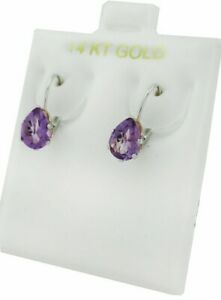 GENUINE 1.52 Cts AMETHYST EARRINGS 14K GOLD * Lever Back* FREE APPRAISAL SERVICE