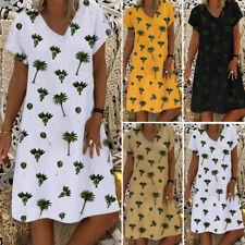 Women Summer Printed Floral T-Shirt Dress Ladies Casual Top Midi Dresses Plus
